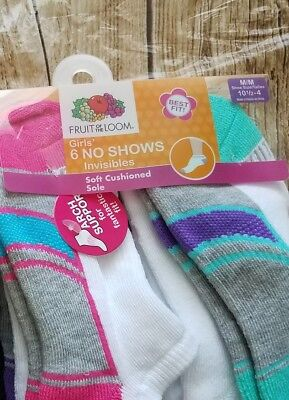 Fruit of the Loom Girls 6 pairs No Show Shoe Socks Arch Support NEW Sz 10.5-4