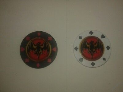 2  BACARDI RUM Poker Chip one white and one red . New.