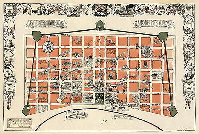 Early Midcentury New Orleans Map la Nouvelle Vintage History Wall Poster Print