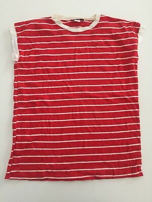 Vintage 80's SASSON Womens Red White Stripe T-Shirt Size Large Made In USA