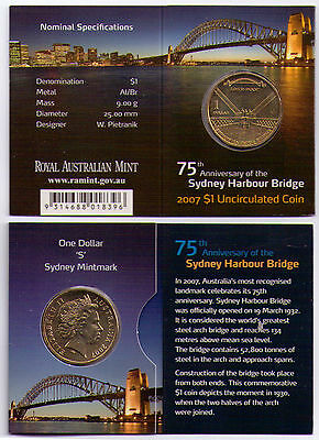 2007 Dollar RAM $1 UNC Coin S Mintmark - 75th Anniv. Sydney Harbour Bridge