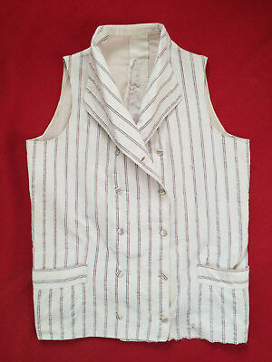 Original Vintage Circa 1800 -1820's Double Breasted Stripped Waistcoat Vest