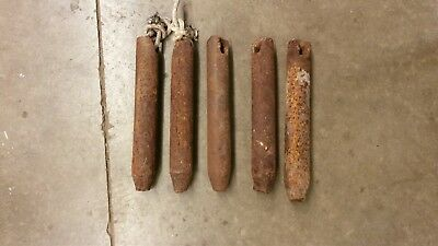 Lot of 5 Old Vintage Antique Farm House Window Sash Cast Iron Hanging Weights