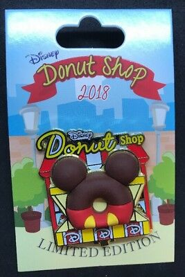 Disney Parks Pin of the Month Disney Donut Shop Mickey Mouse LE 3000New 2018