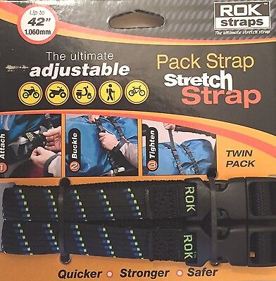 "ROK Straps Motorcycle Luggage Tie Down Adjustable Straps 12""- 42"" x 5/8"" Plaid"