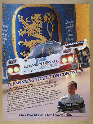 1986 Porsche 962 Lowenbrau Special IMSA race car photo  vintage print Ad