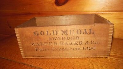 Vintage Wooden WALTER BAKER CHOCOLATE Shipping Box / Dorchester, mass.