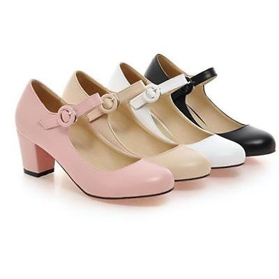 Womens Ladies Block High Mid Heels Court Shoes Mary Jane Strappy Formal Office