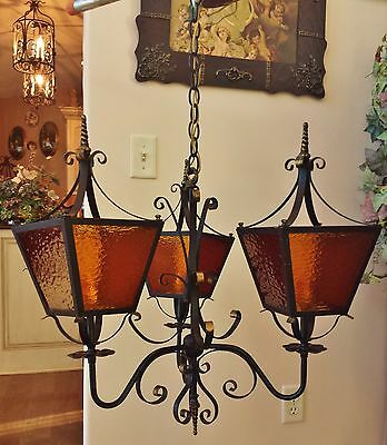Antique French Spanish Gothic Iron 3 Lantern Lamp Chandelier Amber Stained Glass