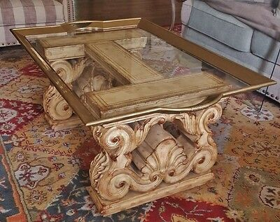 Ornate Vtg French Louis Xv Rococo  Cocktail Tray Table Wood Iron Leather Brass