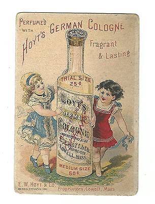Old Trade Card Hoyt's German Cologne Hoyt Lowell MA Lutz Drugs Harrisburg PA