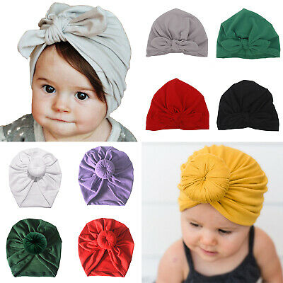 Baby Girls Turban Knot Head Wrap Cute Kids Rabbit Ear Hat Bunny Ear Cotton Cap