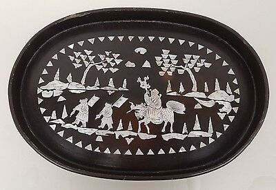 Antique Chinese Lacquer-ware Tray Mother of Pearl Inlay  Man on Qilin