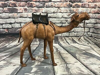 "Vtg Camel Leather Wrapped Figure Figurine Statue w/ Black Saddle 12.75""x15"""