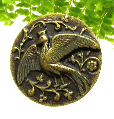 Beautiful Victorian Brass Peacock Button Done In Relief H115