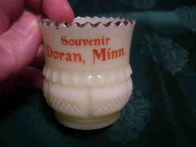 Vintage Custard Glass Souvenir Doran MN  Toothpick Holder
