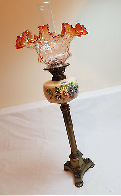 Rare Antique Oil Lamp Brass Victorian Cranberry Etched Glass Shade Duplex Lamp