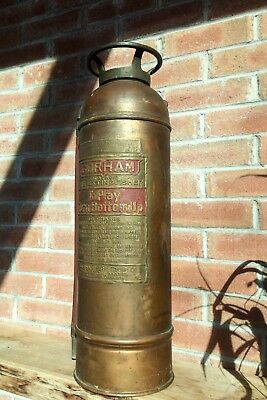 "RARE Antique Vintage ""GORHAM Soda Acid"" Copper Brass Fire Extinguisher BOSTON MA"