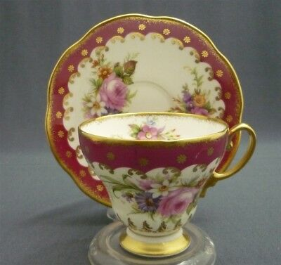 E Brain Foley English Bone China Tea Cup & Saucer Red w/ PINK ROSES & Gold Duo
