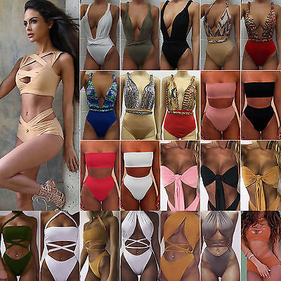 Women High Waisted Swimwear Push up Bikini Swimsuit Monokini Beach Bathing Suit