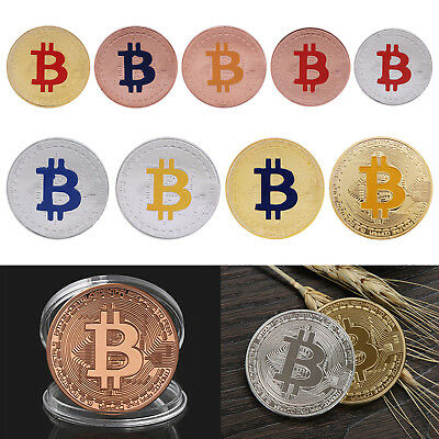 Gold Plated Travel Bitcoin Commemorative Coin Collectible Painted Art Collection