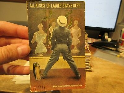 Vintage Old Antique Victorian Era Postcard Shelby OHIO Back End Butt Man in Suit