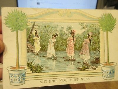 Vintage Old Antique Victorian Era Postcard Bucyrus Melmore OHIO Women Girls Hats