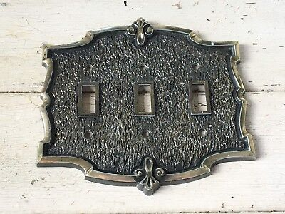 Vintage Amerock Bonaventure Triple Toggle Light Switch Cover Plate Brass