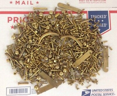 3 LB LOT of Vintage Brass & Brass Plated Screws Parts Nuts Bobbers Screws HTF