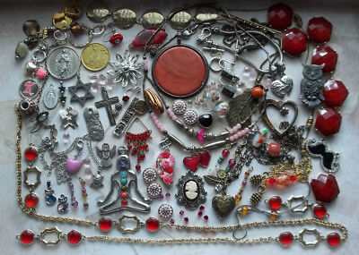 Old Jewelry Parts Beads Big Lot Vintage to Now Craft Bead Harvest Red