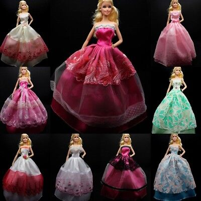 1/3/5 pcs Party Wedding Gown Dresses Clothes +10 Pairs Shoes For Barbie Doll