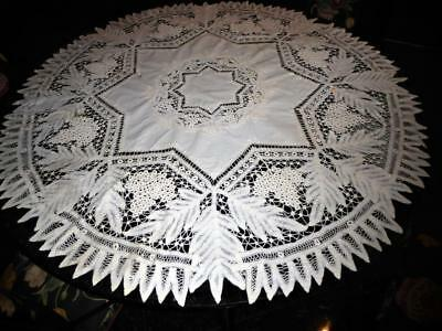Beautiful Antique Handmade Battenburg Tape Lace Round Tablecloth Topper 50""