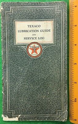1926 Texaco lube guide & svc log; engine oil & lube charts, mileage log, unused.