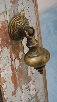 BEST Old Vintage Antique CAST BRONZE Victorian Eastlake ORNATE Drop Drawer Pull