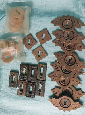 ASSORTED LOT Old Vintage Antique and NOS Carve WOOD Key Hole Covers Escutcheons