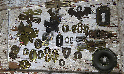LOT Old Vintage Antique Metal Brass Cast Iron Bronze Key Hole Covers Escutcheons