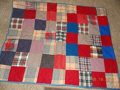 Vintage Hand Sewn WOOL PATCHWORK QUILT Handmade in EUC