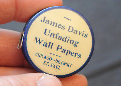 Vintage Advertising Celluloid Tape Measure - James Davis Wall Papers - Chicago
