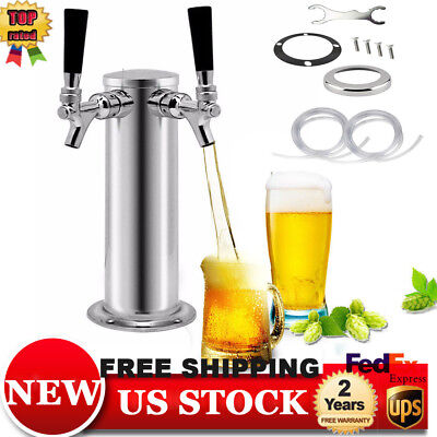 Double Tap Steel Draft Beer Tower Stainless Dual Chrome Faucet Tower Kegerator