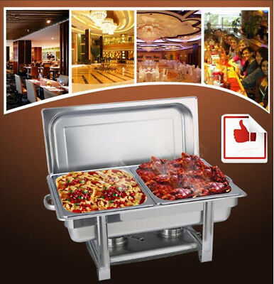 9L Stainless Steel Chafer 2 Half Size Chafing Food Pans Catering Buffet Warmer