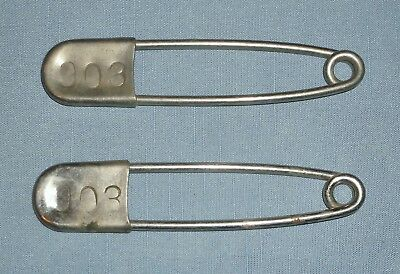 Pair of Large Jumbo Vintage Safety Pins Horse Blanket Laundry Numbered