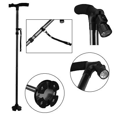 Anti-Shock Telescopic Walking Hiking Stick With LED Light Handle Folding Cane AU