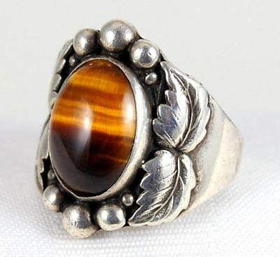 Vtg Old Navajo Tiger Eye Heavy 24.9g Cast Sterling Silver Mens Ring Size 10 1/2