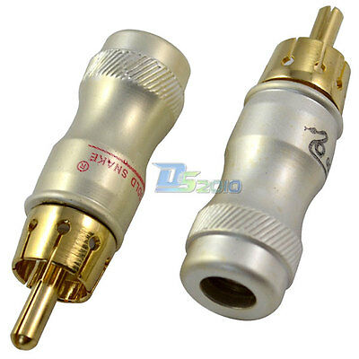2 Lot 1 pair RCA Male Plug Audio Video AV Cable Adapter Jack Socket Connector