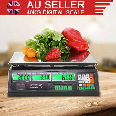 40KG Kitchen Scale Digital Commercial Shop Electronic Weight Scales Food BK