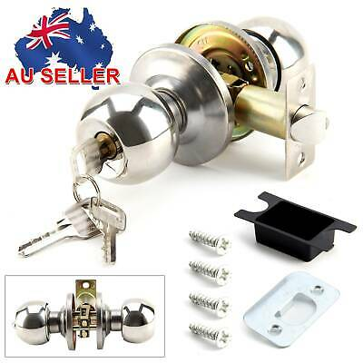AU Entrance Style Satin Stainless Modern Steel Door Lock Knobs Round Handles Set