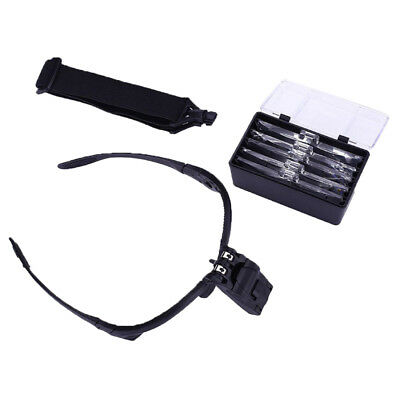 2 LED Head Light Headband Magnifier Headset Magnifying Glass Loupe 5 x Lens