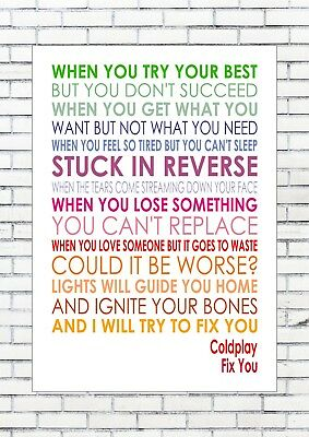 FIX YOU – COLDPLAY Lyrics  Words Typography Wall Art Print Poster A4 Multi