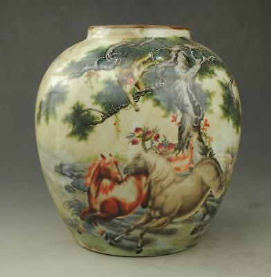 Chinese old hand-made famille ros porcelain Hand painted horse pot
