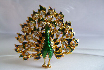 Vintage Jewellery Gorgeous Sparkling Rhinestones And Enamel Peacock Brooch Pin